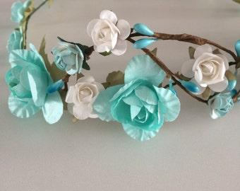 Flower crown, rose crown, tiffany blue and white rose tiara, flower girl headband, bridal headband, bridesmaid headband,aqua blue rose crown