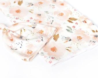 organic cotton swaddle blanket, newborn bundle, knott hat, water colour floral
