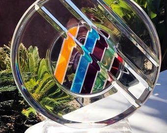 Modern Lucite Abstract Sculpture Beautiful Colors with Beveled Edge