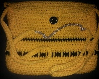 Crocheted Yellow and Black Purse