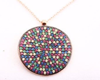 New Design! Turkish Handmade Jewelry Round Multicolor 925 Sterling Silver Necklace
