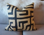 African Kuba black beige pillow cover Authentic Vintage Tribal 100% Linen Backing Exposed Gold Zipper