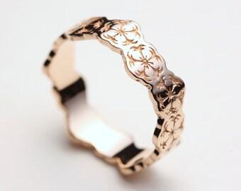 Rose Gold Sakura Ring, Cherry Blossom Ring, Flower Ring, Sakura Jewelry, Japanese Jewelry, Sakura Wedding Ring, Sakura Wedding Band, Japan