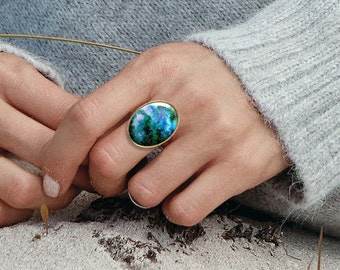 Gypsy rings, Nebula ring, Cocktail ring, Solitaire ring, Bohemian jewelry, Blue ring, Adjustable rings for women, 5095-3