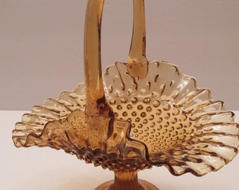 Fenton Amber Hobnail Ruffle Top Footed Basket
