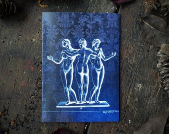 Macabre Magic, Salem Witchcraft Circle, Naked Ladies, Book of Spells, Gothic Occult Wiccan Altar, medical Art, Luxury greeting card.