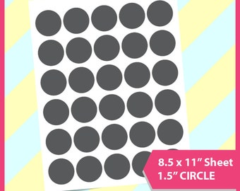 "Instant Download, 1.5"" Circle Template, cake topper template, PSD, PNG and SVG Formats,  8.5x11"" sheet,  Printable 076"