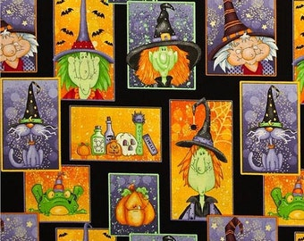 Toil & Trouble -  Per Yd - Witches, Bats and Frogs Oh MY! - Henry Glass