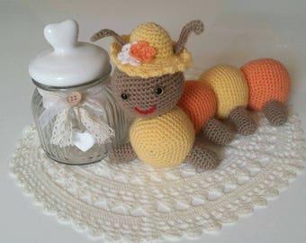 Amigurumi Caterpillar pluche / / geboorte cadeau / / baby / / handgemaakte haak.