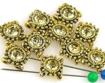 10 gold square textured 2 hole slider beads  11150-M4