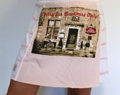 Women's up cycled Dreamers only bicycle pink white tshirt skirt A-line yoga waistband size small/medium one of a kind