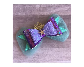 Ready to Ship Little Mermaid Ariel inspired Glitter Hair Bow