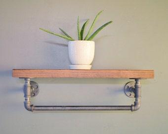 Industrial Floating Pipe Shelf with Towel Rack