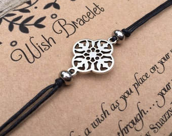 Flower Wish Bracelet, Make a Wish Bracelet, Filigree Flower Bracelet, Minimalist Bracelet, Wish Bracelet, Gift for Her, Friendship Bracelet