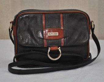 Vintage PAPILLON  small navy brown tan genuine  leather  shoulder bag cross body bag