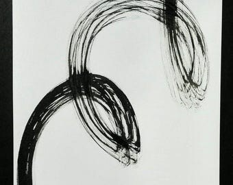 Strokes of ink black. Minimalist. Black and white.