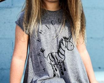 99% Unicorn Heather Grey Short Sleeve Hi-Lo Maxi Dress For Girls/Kids/Toddlers