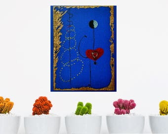 Dancer, Miro - oil painting over jigsaw puzzle 1000