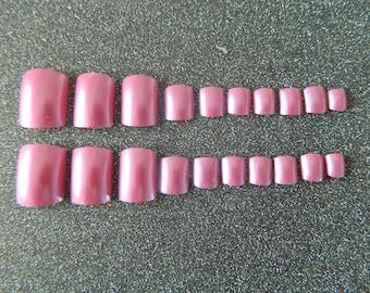 Pink False Toe Nails.
