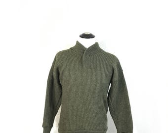 70's shawl collar 100% wool pullover sweater military khaki