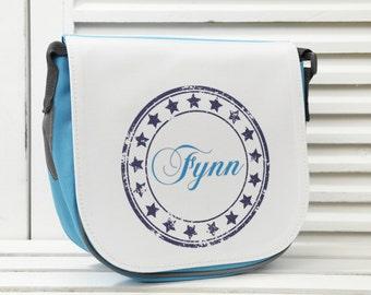 Personalized kitty bag Child carrier bag Shoulder bag in blue
