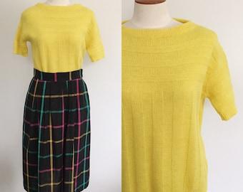 1960s lemon boat neck sweater / vintage yellow sweater / 60s sweater / pin up sweater / cropped sweater / medium M