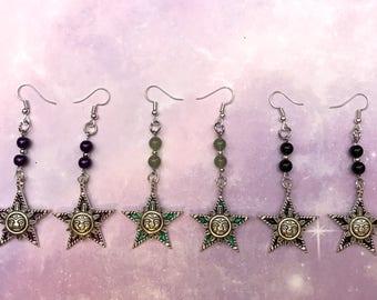 Celestial star and sun earrings - ONE pair