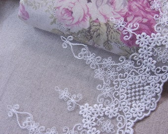 """Lovely Ribbon Flower Embroidered Tulle Lace Trim Off White 15cm(5.9"""") Wide 1Yd #ew"""