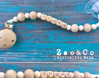 Dummy pacifier chai dummies clip holder natural organic wood custom name personalised beads beech maple