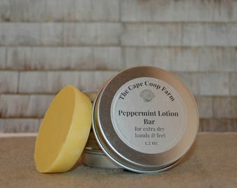 Peppermint Solid Lotion Bar, Beeswax Lotion Bar