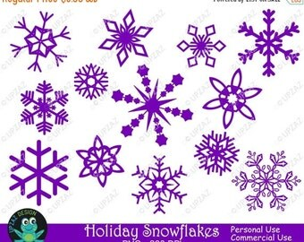 75% OFF SALE Purple Snowflake Clipart, Commercial Use - UZ832