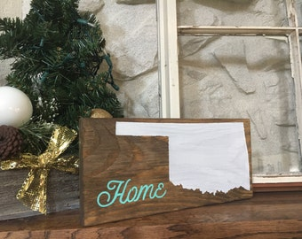 Oklahoma wood sign // small wood sign // hand painted wood sign