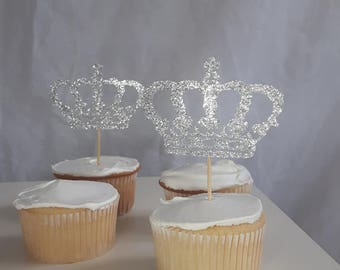 12 Silver Glitter Crowns - Cup Cake Toppers