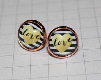 Love Black, White & Gold Pattern Round Glass Cabochon Copper Tone Stud Earrings 12mm