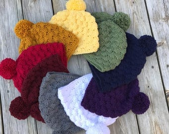 Shell Stitch Hat, Multiple Colours to Choose From, Pompom hats, Ready to Ship