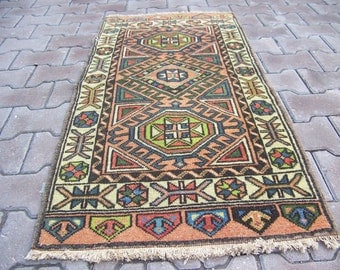 Traditional Multi-Colored Small Rectangle Turkish Rug, Decorative Rug, Entry Rug, Bedside Rug,Vintage Turkish Rug 1'9''x 4'1'' - 60 x 126 cm