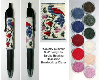 Country Summer Bird by Sarahs Beading Obsession beaded pen kit (pattern sold separately)