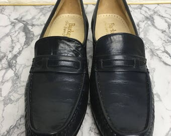Vintage Designer 1960's Classic Navy Leather Loafer Shoe By Barker. Mod Style, Loafers, Navy Shoe. Made in England. UK Size 4