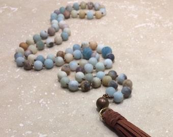 Amazonite tassel necklace,mala amazonite tassel necklace,boho amazonite tassel necklace,genuine amazonite tassel necklace,yoga amazonite tas