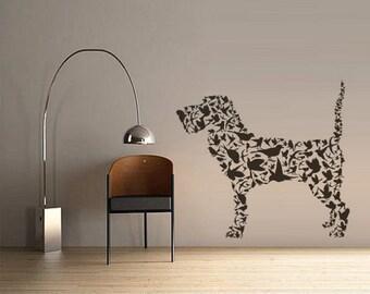 rvz3095 Wall Decals Vinyl Decal Sticker Animals Dog Terier Consist From Birds