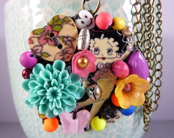 BETTY BOOP PENDANT beads and charms