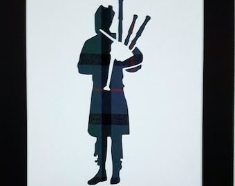 Bagpiper Bagpipes Tartan Picture Scottish Gifts