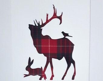 Stag, Hare & Bird Tartan Picture Scottish Art Gift