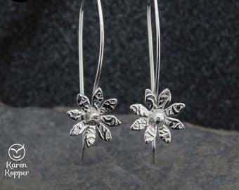 Flower dangle earrings, sterling silver (0.925),  handmade, 186