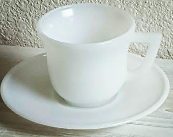 Vintage Milk Glass Tea Cup and Saucer, Hazel Atlas White Milk Glass Demitasse, Made for a Princess Tea Party