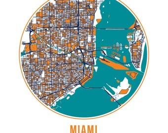 Miami Football - Community Color Map - Poster Print Wall Art- Neighborhood Fan