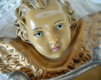 Antique, French Angel tank holy water 1950s belle brocante, french shabby