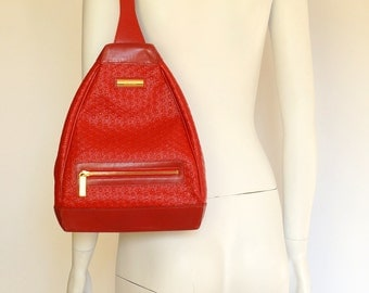 Escada by Margaretha Ley vintage red leather backpack