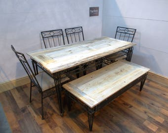 Refurbished Wrought Iron table & 4 chairs with Coffee table set