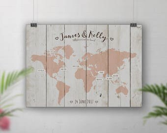 Peach Wedding Guest Book Alternative, Grey World Travel Map, Wood Wall Art, Travel Map Personalised, Theme Wedding, Places We've Been, Signs